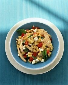 Pasta with Chicken, Tomato, and Feta, from Martha Stewart. Uses a storebought rotisserie chicken. I might substitute a French goat cheese for the feta.