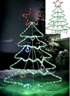 Outdoor Christmas Rope Light Tree Ornament Garden Xmas Decoration 45u0027Silhouette #WeRChristmas & 20 best Outdoor Spiral Christmas Tree 5Ft LED Rope Lights Garden ...
