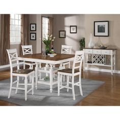 Coaster Furniture 104008 Ashley Two-Tone Counter Height Table with 12