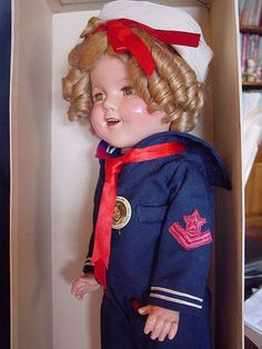 "IDEAL, COMPOSITION, USED, SHIRLEY TEMPLE ""CAPTAIN JANUARY"" SAILOR DOLL, NMIB!"