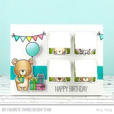 Stamps: Beary Special Birthday, Happy Hippos Die-namics: Beary Special Birthday, Happy Hippos, Stitched Interactive Window Trio  Amy Yang #mftstamps
