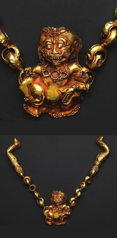 Indonesia ~ Tanimbar archipelago   Necklace with Raksasa Demon (mase); gold   14th - 15th century or earlier   Source: 'Gold Jewellery of the Indonesian Archipelago', page 48