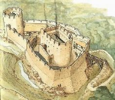 Very little is known about Ewloe Castle, other than it appears to have been built by Llywelyn ap Gruffydd to counter the English fortresses in eastern Gwynedd of Hawarden and Flint. It was built in Fantasy Castle, Fantasy Map, Medieval Fantasy, Chateau Medieval, Medieval Castle, Castle Wall, Castle House, Welsh Castles, Castle Illustration