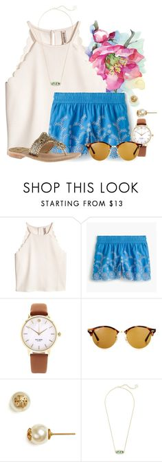 """""""What's wrong with being confident"""" by flroasburn ❤ liked on Polyvore featuring J.Crew, Kate Spade, Ray-Ban, Tory Burch, Kendra Scott and Jack Rogers"""