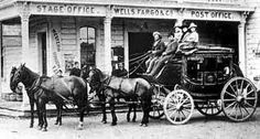 The first stagecoach company, American Express, is formed by Henry Wells and William Fargo. The name is later changed to Wells Fargo. Wells Fargo Stagecoach, Old West Town, Old West Photos, Real Cowboys, Le Far West, Mountain Man, Old Pictures, Wild West, Historical Photos