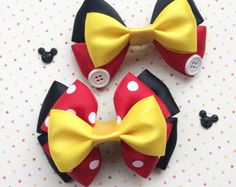 Minnie Mouse or Mickey Mouse Inspired Hair Bow