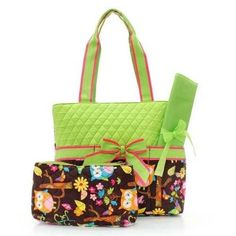 Quilted Lime Owl Diaper Bag Personalized 3pc Set Large embroidered purse tote bag on Etsy, $39.00
