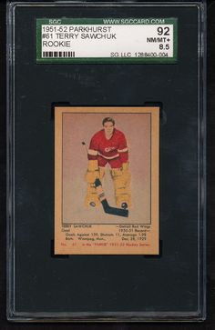 1951 - 1952 Parkhurst Terry Sawchuk Detroit Red Wings Hockey Card for sale online Hockey Cards, Baseball Cards, Detroit Red Wings, Nhl, 1930s, Gift Ideas, Christmas, Collection, Hockey Players