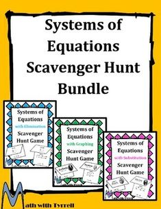 Great activities for a systems of equations unit!  These scavenger hunts are a great way to boost student engagement.  Algebra 1