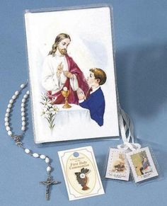 First Mass Book (Cathedral) Vinyl Set – Boys includes a laminated scapular, enamel pin, and chain rosary, with a clear wallet holder! Catholic Books, Books Online, Cathedral, Enamel, Wallet, Chain, Boys, Art, Baby Boys