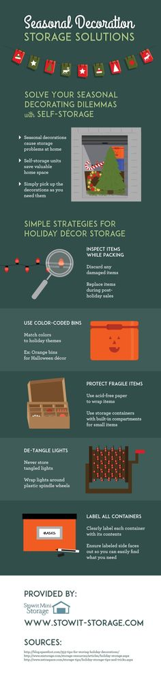 Start your year with organization by storing holiday decorations in a self-storage unit! Inspect items while you pack so you can discard anything that is damaged. Check out this infographic about storage in Sunnyvale for more advice.