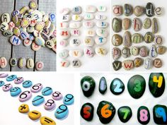 abecedario con piedras pintadas Deco, Rocks, Stones, Painted Rocks, Artists, Blue Prints, Games, Deko, Decoration