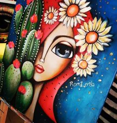 Indian Art Paintings, Modern Art Paintings, Art Pop, Simple Oil Painting, Pottery Painting Designs, Turkish Art, Doll Painting, Mexican Art, Whimsical Art