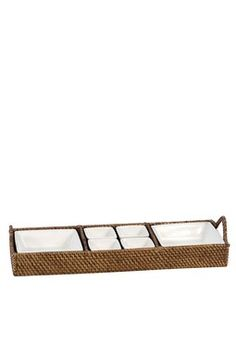 Rattan tray with porcelain inserts