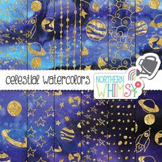 Space Digital Paper Celestial Watercolors by NorthernWhimsyDesign