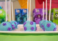 Monsters Inc Cake Pops  birthday