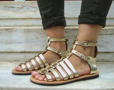 0e77968485068a Gold Greek Sandals Gold Gladiator Shoes Greek by OhSoGreek on Etsy Gold  Leather