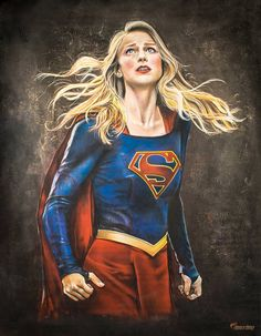 """Melissa Benoist as Supergirl/Kara Danvers poster print of CW's """"Supergirl"""". The original drawing was completed with sidewalk chalk at the Nashville Heroes & Villains Fan Fest in It spanned before it was photographed in HD and printed. Supergirl Series, Melissa Supergirl, Supergirl Comic, Supergirl 1984, Melissa Benoist, Captain Marvel, Marvel Dc, Marvel Comics, Supergirl Drawing"""