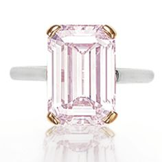 Colored diamond ring featuring a rectangular-cut fancy light pink diamond totaling approximately 5.91 carats with natural color and VS1 clarity, mounted in platinum and 18-karat rose gold. Image by Christie's.
