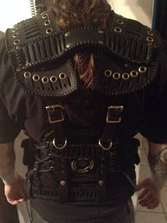 Post Apocalyptic Black Leather Tactical Vest  by LethalWare