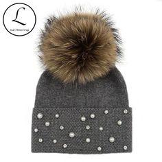 Cheap raccoon fur pompom hat 2a676a56284c
