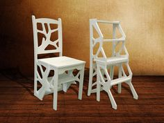 Step Stool Chair Chair Ladder Step Ladder Foot by Stoolwood Adirondack Chair Plans, Wooden Adirondack Chairs, Ladder Chair, Stool Chair, Kitchen Step Stool, Kitchen Stools, Woodworking Furniture, Wood Furniture, Wood Steps