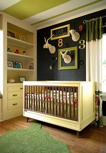 Hip Modern Nursery, Mid Century Modern Crib, Chalkboard, Orange County Interior Design