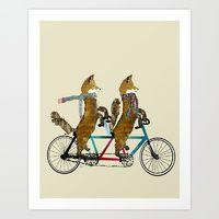 Art Print featuring fox days lets tandem by bri.buckley