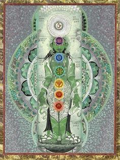 "°Chakras, literally meaning ""wheel"" in Sanskrit. The chakras run up the center of the body, parallel to the spinal column & are interpreted as wheels of energy. As they spin, they move the energy up & down the body. The chakras hold the energies that connect you to the Divine Source. They can open you to spirituality & health."