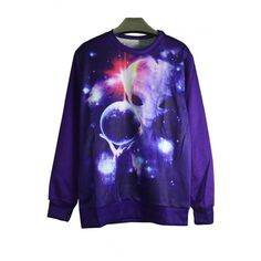 Alien & Galaxy Print Ribbed Long Sleeve Sweatshirt ($32) ❤ liked on Polyvore featuring tops, hoodies, sweatshirts, blue sweatshirt, long sweatshirt, galaxy top, galaxy sweatshirt and galaxy print top