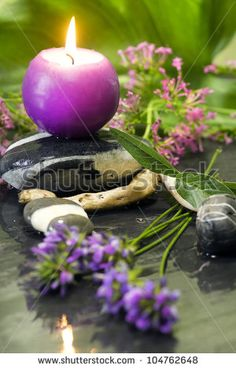spa concept with candle and natural elements - stock photo