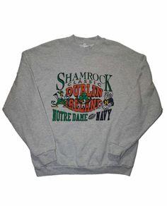 Vintage 1996 Notre Dame vs Navy Shamrock Classic Crewneck Sweatshirt Mens Size XL $35.00