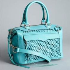 """Rebecca Minkoff MAB Satchel NWT 🎉HOST PICK 3/29 & 5/4 🎉 DARLING ! Turquoise equals Trend ;)..Leather with laser cut detail Design. Has metal feet to protect bottom of the bag ! Brand new with tags. Retails @$550.. Measurements :Length 13"""" x 7.5"""" Height x 7"""" dia depth . Drop handle 6.5"""" & Strap 19"""". brand new .🚫NO PP AND NO TRADES🚫 Rebecca Minkoff Bags Satchels"""
