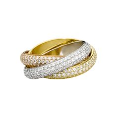 cartier trinity ring. three rings, three types of gold, pink for love, yellow for fidelity, white for friendship. paved with white diamonds.