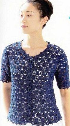 Zhaketik with beautiful pattern crochet cardigan Débardeurs Au Crochet, Crochet Bolero Pattern, Gilet Crochet, Crochet Jacket, Crochet Woman, Crochet Blouse, Jacket Pattern, Crochet Shawl, Black Crochet Dress
