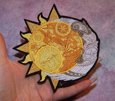 Celestial Sun Crescent Moon Iron On Embroidery Patch