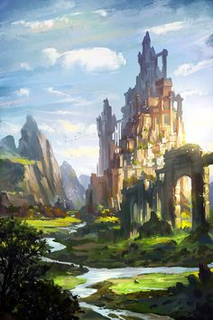 Hey guys,this illustrations is for the storybook <The long price quartet_The Price of Spring> translation in China I hope you will like it,Thanks . The Price Of Spring Fantasy Kunst, Fantasy City, Fantasy Castle, Fantasy Places, Fantasy World, Fantasy Art Landscapes, Fantasy Landscape, Landscape Art, Fantasy Concept Art