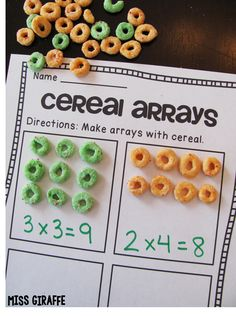 Arrays and repeated addition with cereal makes such a fun small groups lesson or math center in grade or grade to introduce students to multiplication… they make rectangular arrays with cereal then either write a multiplication equation or repeated Maths 3e, Multiplication Activities, Numeracy, Array Multiplication, Repeated Addition Multiplication, Fun Math Activities, Array Math, Division Activities, 3rd Grade Activities