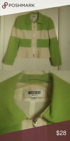 Green and cream zip up Blazer very professional VERY well made,  HIGH QUALITY material, lime green and cream zip-up suit jacket / coat / blazer. Very high end, expensive designer. All items are buy one get one half off. Moschery Jackets & Coats Blazers
