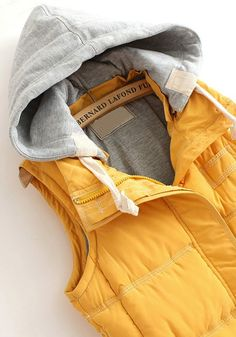 Yellow Zipper Collar With Hat Thick Cotton Vest - Outerwears - Tops