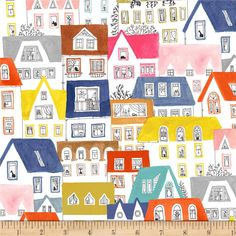 Country Town Buildings Farms Rural Yesteryear Cotton Fabric Print BTY D772.30