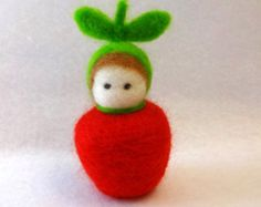 Needle Felted Snow Child Waldorf storytelling by EarthyMamaGoods
