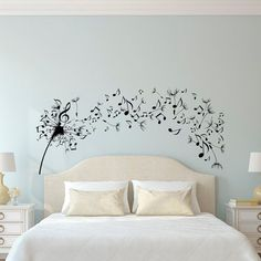Dandelion Wall Decal Bedroom- Music Note Wall Decal Dandelion Wall Art Flower Decals Bedroom Living Room Home Decor Interior Design  Approximate