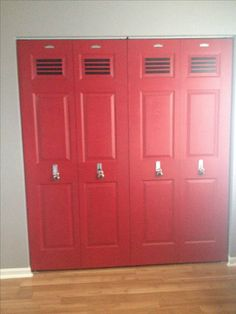 Locker doors for our sports room! Aiden's closet doors would look awesome! Baby Boy Room Decor, Baby Boy Rooms, Room Closet, Closet Doors, Garage Closet, Boy Sports Bedroom, Boys Sports Rooms, Football Bedroom, Kids Rooms