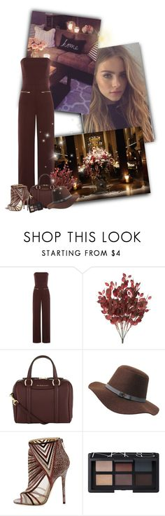 """""""A successful woman is one who can build a firm foundation with the bricks others have thrown at her"""" by priscilla12 ❤ liked on Polyvore featuring Alexander McQueen, Maison Margiela, Burberry, Jimmy Choo, NARS Cosmetics, hat, jimmychoo and jumpsuit"""