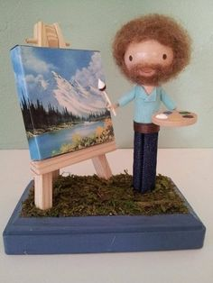 Bob Ross Clothespin Doll by LittleBun. Time to paint some happy little trees! hahahaa i looooooooove it . i used to watch his videos when i was a little :D Bob Ross Art, Mini Hot Dogs, Clothespin Art, Happy Little Trees, Bob Ross Paintings, Wow Art, Amazing Art, Awesome, Art Projects
