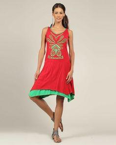 Designer : DRESSES OUTLET - RED PRINTED COTTON DRESS - $17 Today on Mynetsale.com.au!