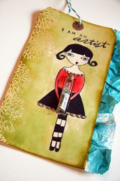 Sweet mixed media art tag by Donna Downey.