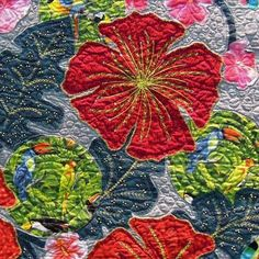 bigger-than-life size flowers and leaves were embellished with an array of fun embroidery stitches.This look is so lively and tropical, that Phyllis's flowers are imbued with a personality of their own. Quilt Inspiration: Quilts of Florida (part Tropical Quilts, Hawaiian Quilts, Colorful Quilts, Wool Quilts, Applique Quilts, Patch Quilt, Machine Quilting, Machine Embroidery, Embroidery Stitches