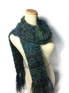 Teal Green Knit Scarf Hand Knit Scarf Knit by ArlenesBoutique, $45.00